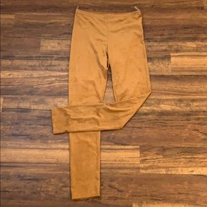 Faux Suede Camel Leggings NWT